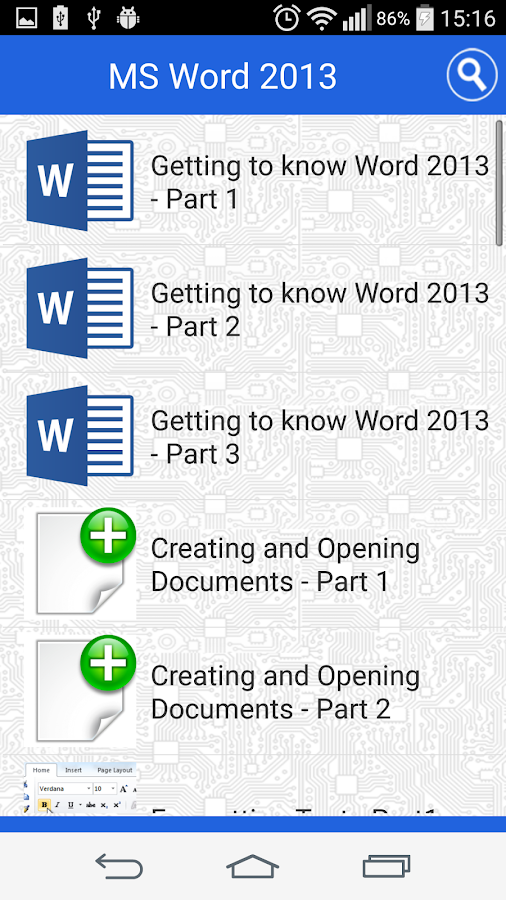 Tutorial for MS Word Free- screenshot