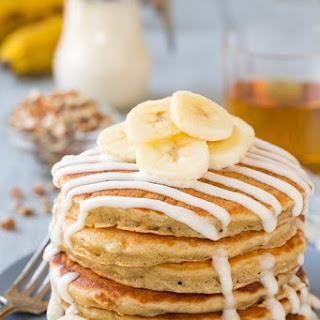 Banana Bread Pancakes with Cream Cheese Glaze.