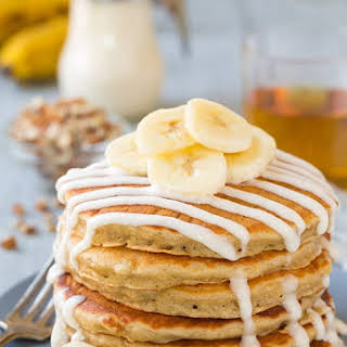 Banana Bread Pancakes with Cream Cheese Glaze.