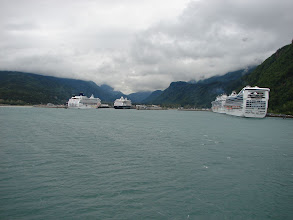 Photo: Skagway and four cruise ships from the ferry.