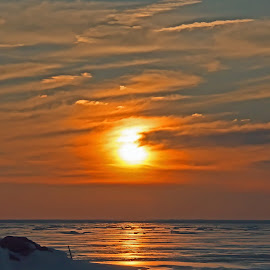 Frigid by Bill Diller - Landscapes Sunsets & Sunrises ( frigid, michigan, great lakes, ice, cold, saginaw bay, tranquil, peaceful, calm, snow, sunset, calmness, tranquility, lake huron )