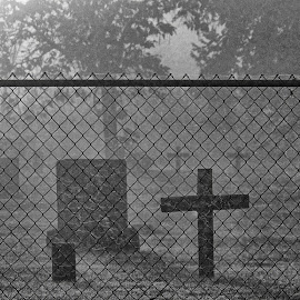 Fenced by Gaylord Mink - Black & White Objects & Still Life ( fence, cemetery, stones, cross )