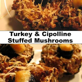 Turkey and Cipolline Stuffed Mushrooms.