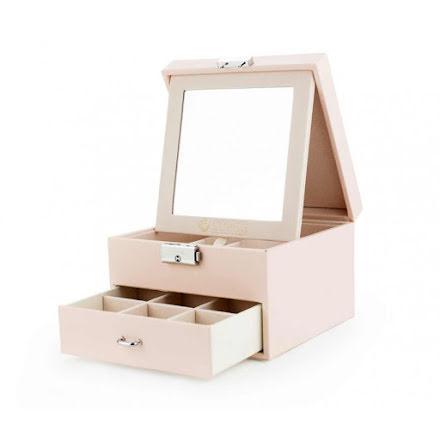 Rosa Smyckeslåda/Juvelbox med spegel