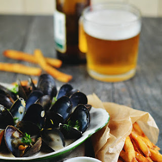Beer-Braised Mussels and Belgian Fries with Sauce Gribiche.