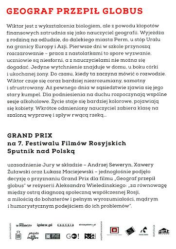 Tył ulotki filmu 'Geograf Przepił Globus'