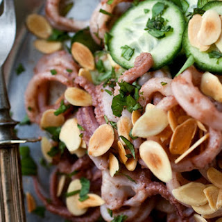 Squid Salad with Cucumbers, Almonds and Pickled Plum Dressing