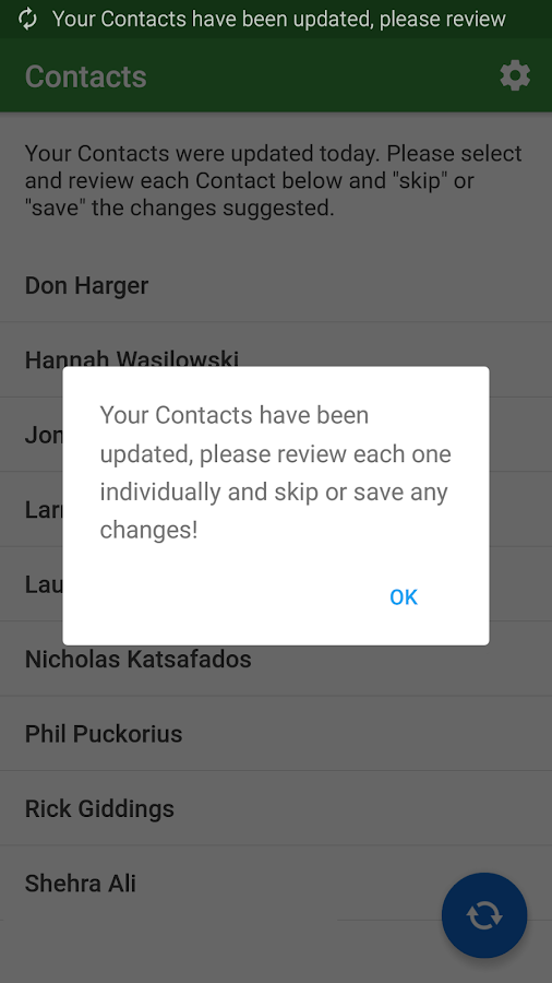 Contact Updater- screenshot