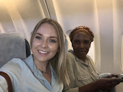 Jessica Berger and Oscarine Ngceba before their flight to Durban.