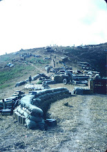 Photo: Mike Kern picture.  Looking from battery up towards ammo dump, Ted Cattron's position, FDC, and infantry.