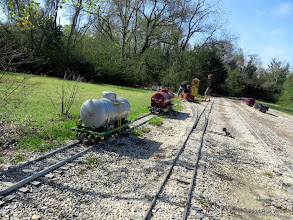 Photo: Mike and Case Alexander working on re-railing their new gondola.    HALS OPS Day 2014-0329 RPW