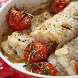 Parmesan Tilapia with Tomato & Basil Cream Sauce.