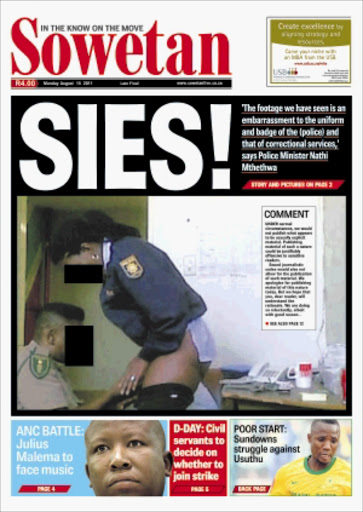 WHAT A DISGRACE:  Sowetan's exposé of two officers satisfying  their lust during working hours.