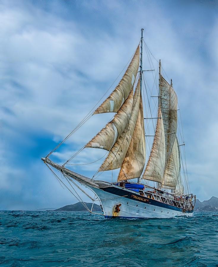 SV Mandalay with Full Sails by Tom Reiman - Transportation Boats ( mandalay, sailing, tall ship, caribbean, full sail,  )