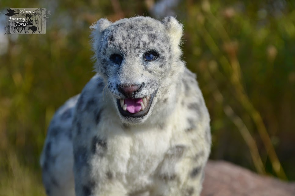 Snow Leopard handmade soft sculpture