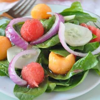 Spinach and Melon Salad with Honey Citrus Vinaigrette