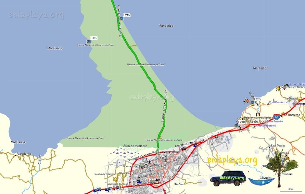 Mapa de Playas del Sector Coro