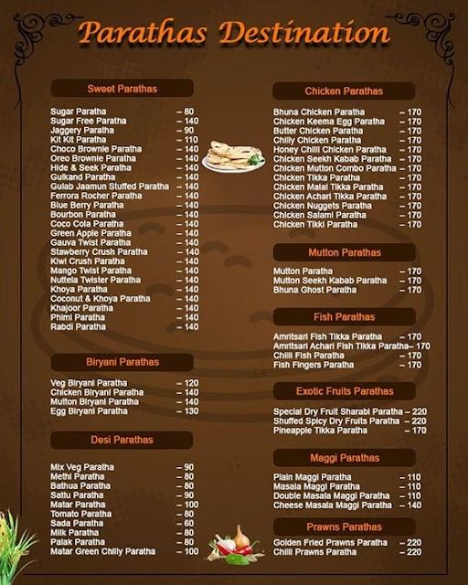 Paratha Destination menu 4
