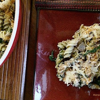 Baked Pasta with Mushrooms and Spinach in a cheat sheet White Sauce, a lighter version!