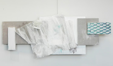 Photo: WHITE GRID/PAPER UNDULATING--24X56 mixed media