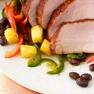 Barbecue-Rubbed Pork Tenderloin with Pineapple Salad.
