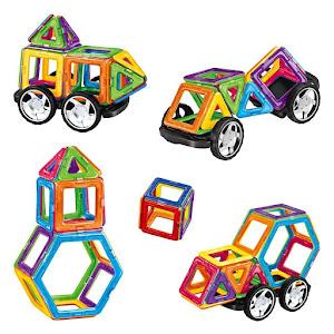 Joc educativ de construit cu piese magnetice 46 bucati