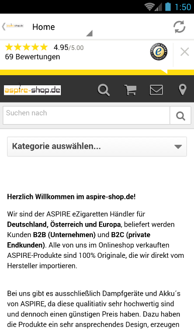 ASPIRE eZigaretten Shop- screenshot