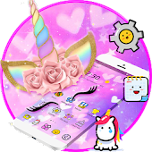 Pink Unicorn Flower Rainbow Theme
