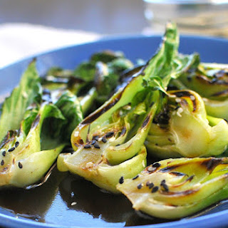 Steam-Grilled Baby Bok Choy with Sesame Soy Vinaigrette