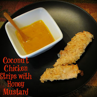 Coconut Chicken Strips with Honey Mustard.