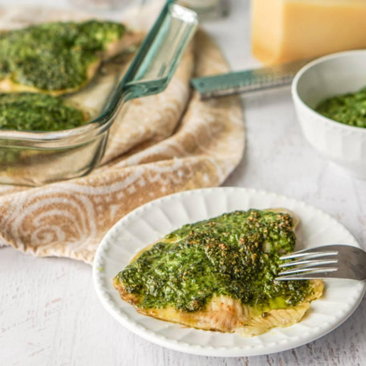Low Carb Pesto Tilapia Dinner
