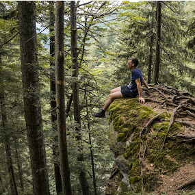 on the edge by Jernej Lipovec - People Portraits of Men ( hill, mountain, trees, rock, forest, deep, portrait )