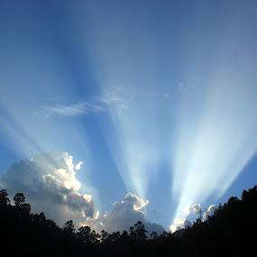 God Rays by Karthic Kumar - Abstract Light Painting ( clouds, god, mountain, piercing, worship, rays, sun, amazing, red, tree, blue, sunset, bluesky, sunrise )