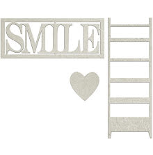 FabScraps Lavender Breeze Die-Cut Chipboard - Smile W/Heart & Ladder