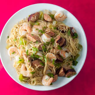 Fat Tuesday Noodles With Smoked Sausage and Shrimp.