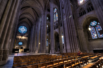 """Photo: Another shot from St. John the Divine in NYC.  You can safely walk around with a tripod and shoot for hours on a weekday...just be sure to check the service schedule so you don't interrupt any worshipers. I went on a Friday around 2pm and there was literally 4-5 people in the space at any given time. Great """"little"""" gem on the upper west side.  P.S. This was a 5 exposure HDR, but the Stain Glass is comped in from the -1 or -2 exposures. Good Stained Glass doesn't need the HDR treatment!"""