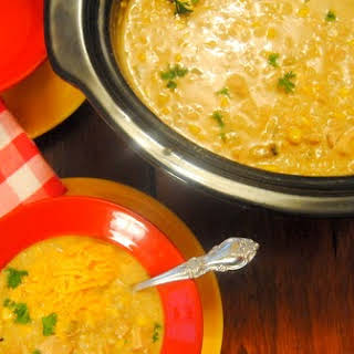 Slow Cooker Green Chili, Chicken and Rice Soup.