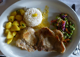 Photo: Country lunch: fried pork chop with potatoes, rice, and vegies