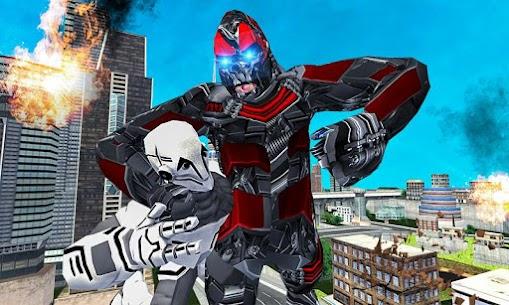 Futuristic Robot Transforming Gorilla Attack City 1