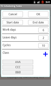 TC Scheduling Table screenshot 4