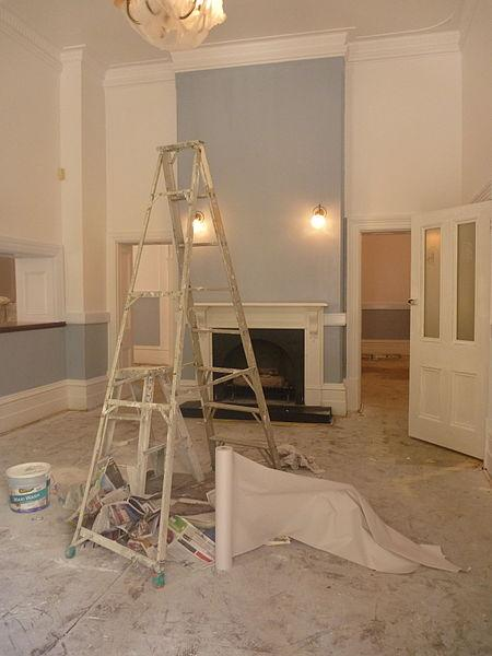 File:Front room at Rosies being painted.JPG