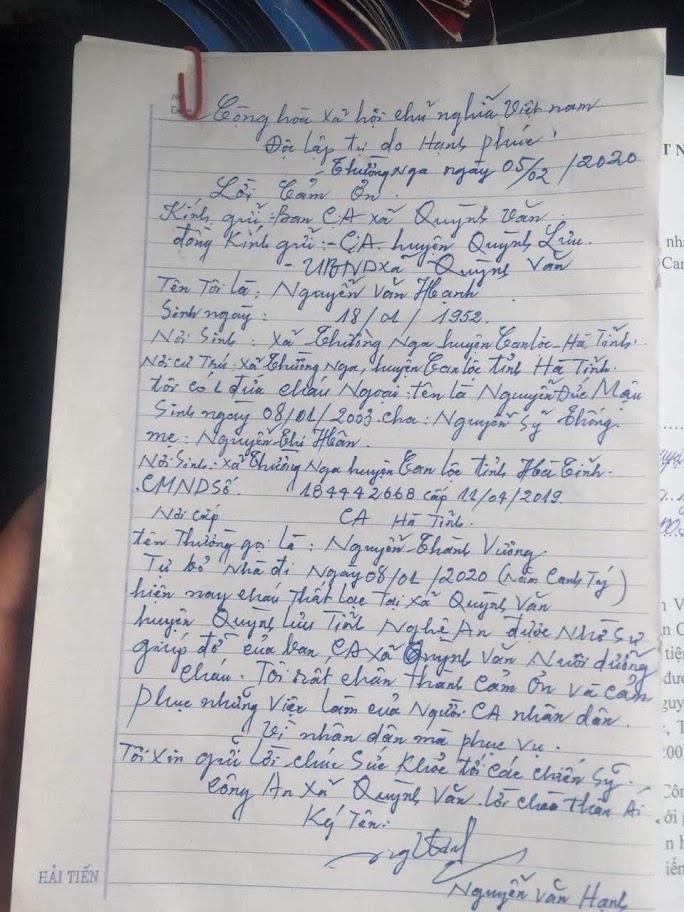 Lá thư cảm ơn của ông ngoại cháu bé gửi lực lượng Công an