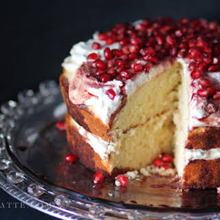 Amaretto Butter Cake with Pomegranate and Cream.