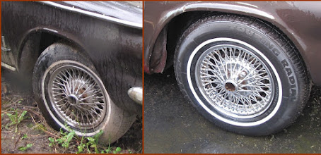 Photo: As found on the left, it looked pretty bad.  After about an hour cleaning, i think they will make a great set of driver quality chrome spoke wheels.  Need to find a set of those dangerous spinners!! These Dunlop chrome wire wheels have since found a new home on my 1964 Monza Convertible.