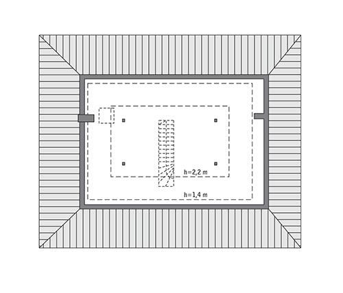 Czterolistna koniczyna - wariant XVII - C444t - Rzut poddasza do indywidualnej adaptacji (44,8 m2 powierzchni użytkowej)