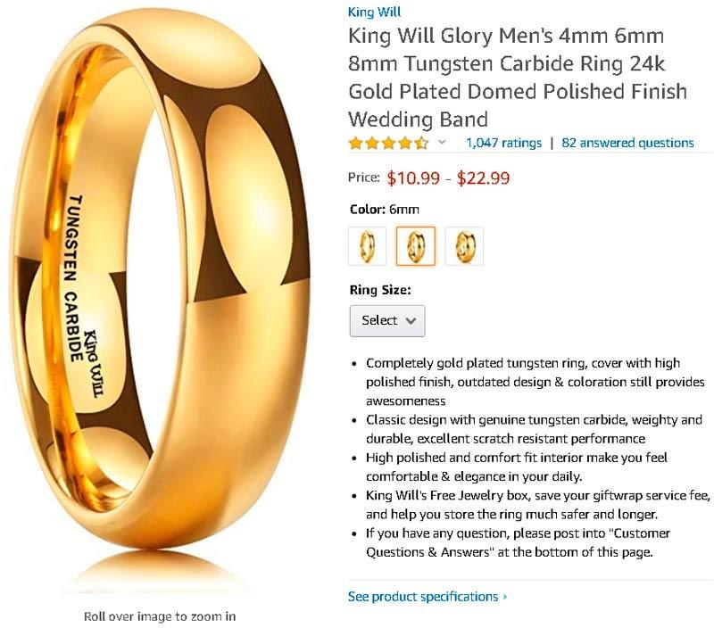 Кольцо золотое мужское на Amazon