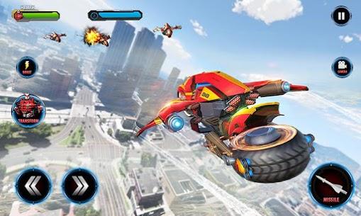 Real Flying Robot Bike : Robot Shooting Games 3