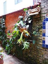 Photo: Cerâmica decorativa e plantas trepadeiras se dependuram no muro. http://celiamartins.blogspot.com/