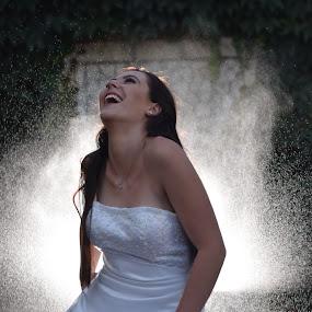 by Leanne Vorster - Wedding Bride ( water, weddingdress, laugter, brunette, bride,  )