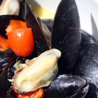 Mussels with Saffron and Tomatoes.